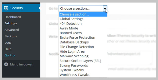 ithemes security configureren